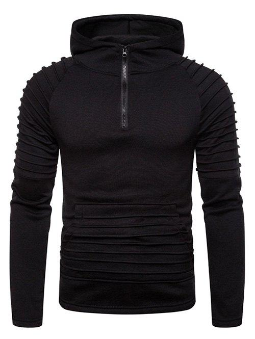 Pleated Trim Front Pocket Raglan Sleeve Hoodie - BLACK 3XL