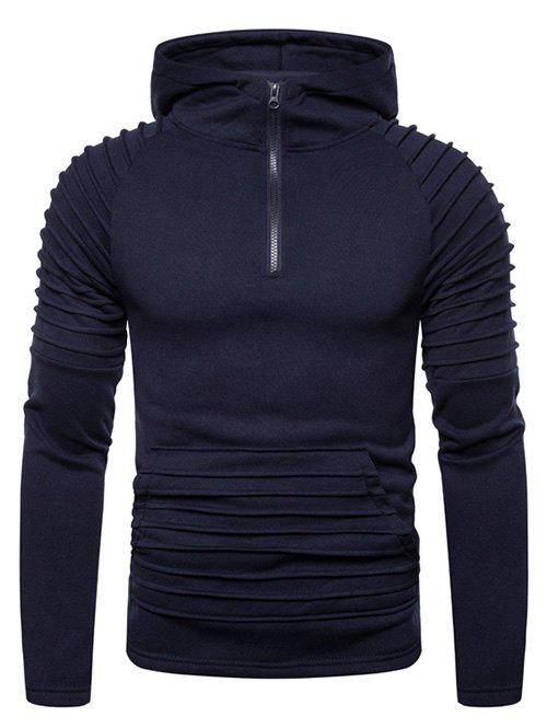Pleated Trim Front Pocket Raglan Sleeve Hoodie - CADETBLUE 3XL