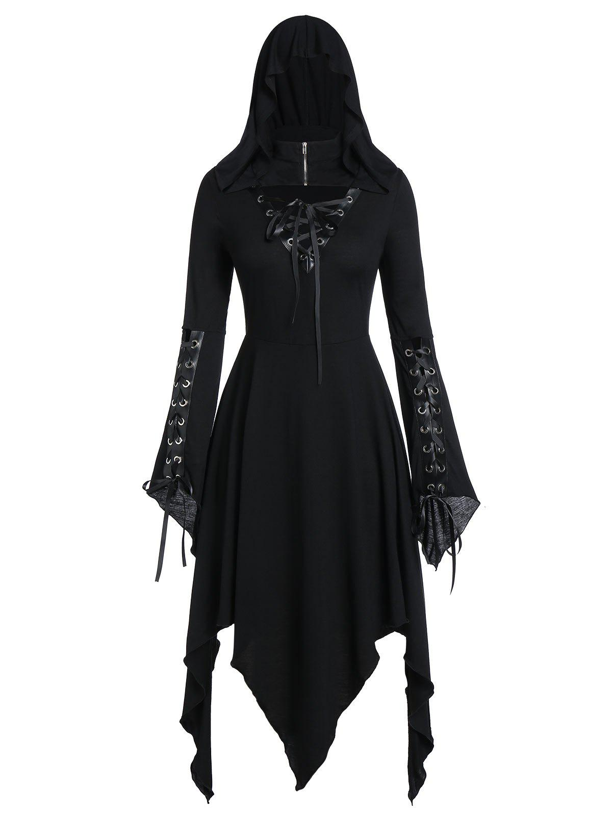 Plus Size Halloween Lace Up Gothic Hanky Hem Dress - BLACK 5X