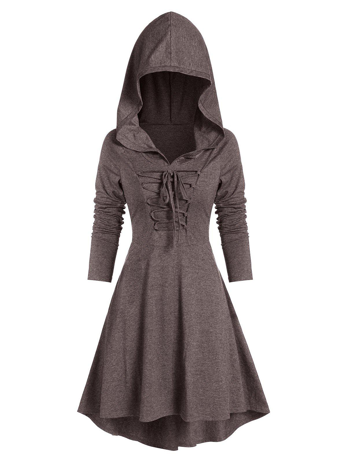 Hooded Lace-up Heathered High Low Gothic Dress - COFFEE 3XL
