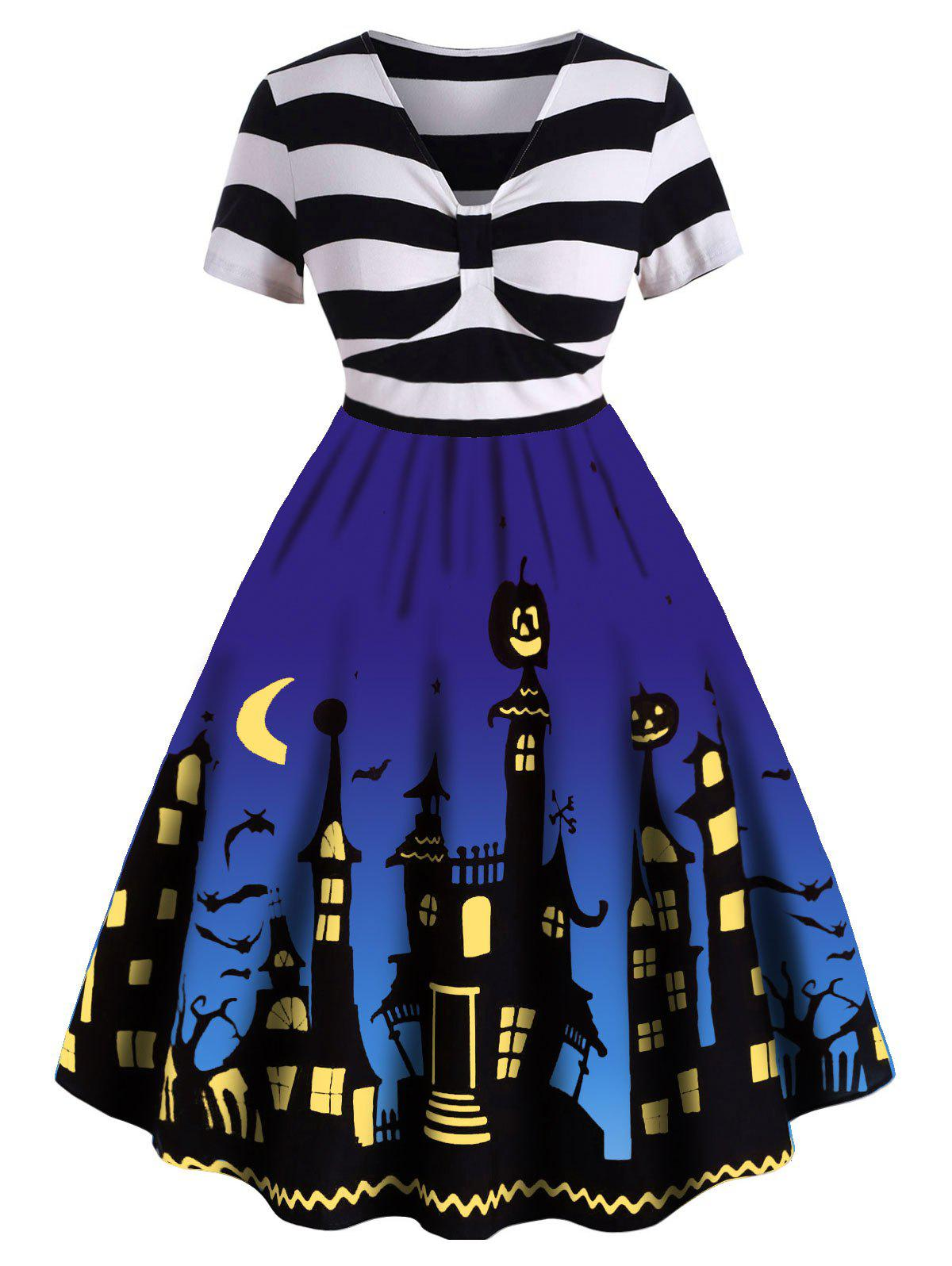 Plus Size Striped Halloween Flare Dress