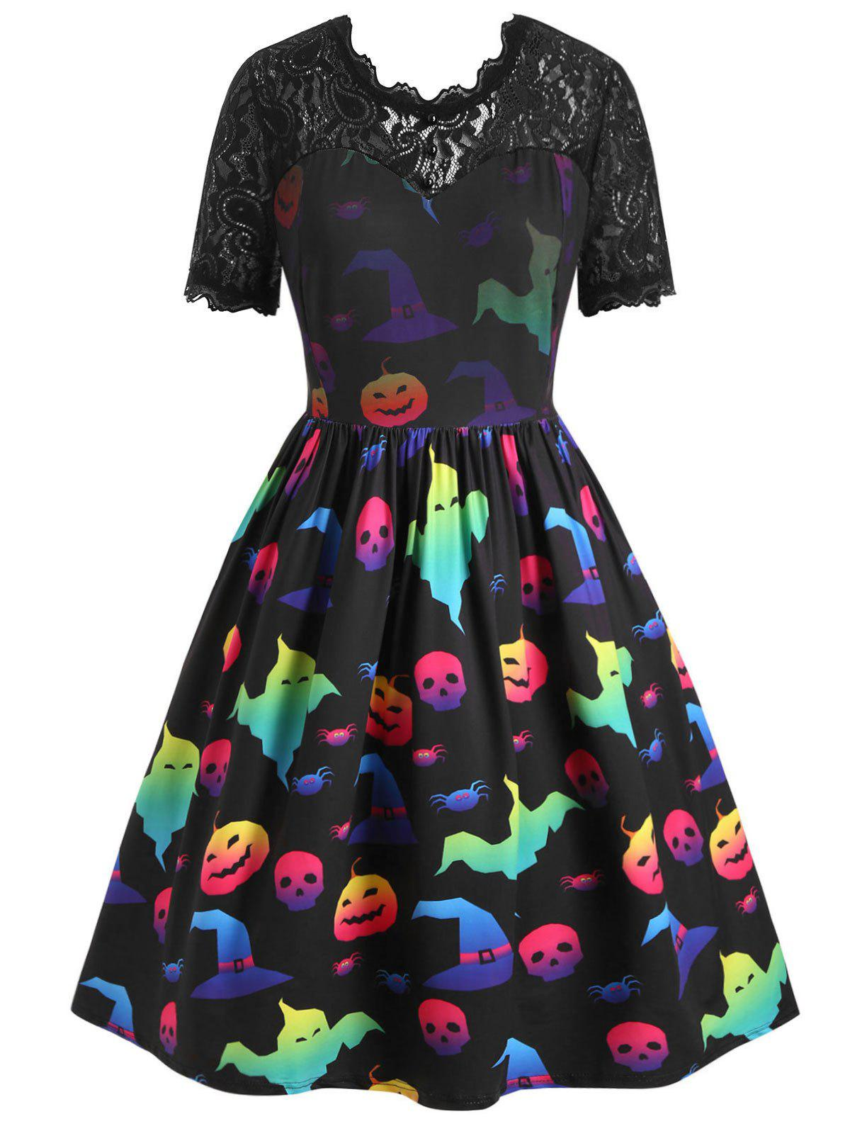 Plus Size Lace Panel Pumpkin Ghost Print Halloween Retro Dress