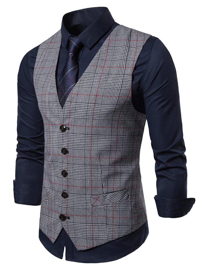 Plaid Pattern V-Neck Casual Waistcoat - LIGHT GRAY M
