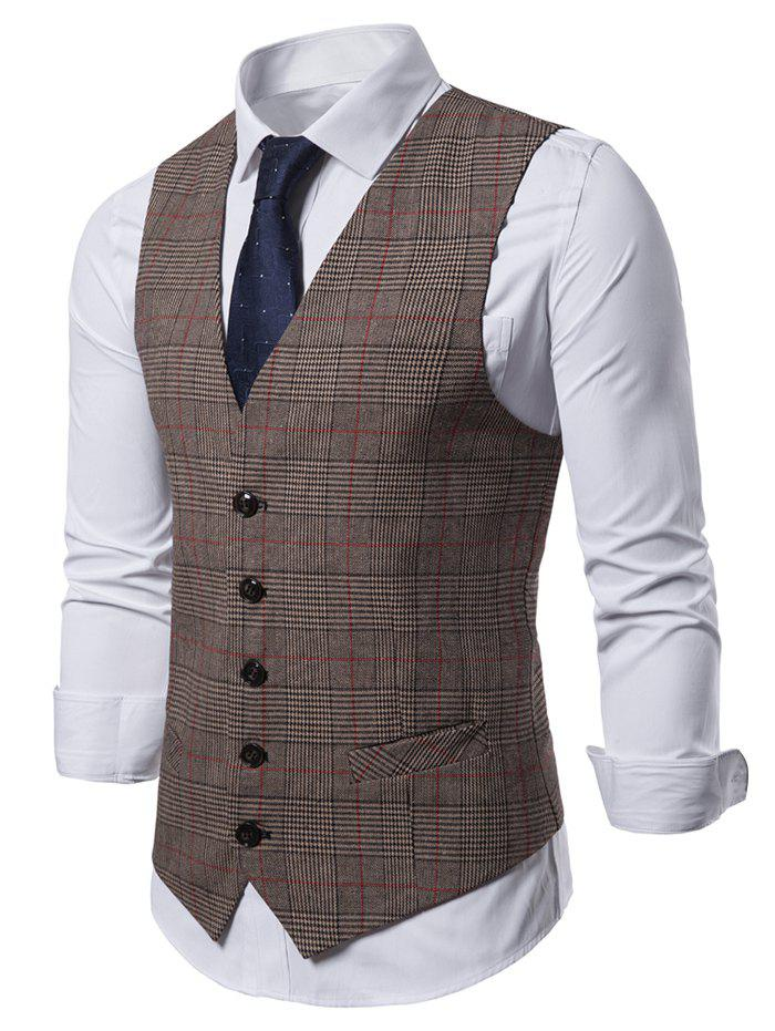 Plaid Pattern V-Neck Casual Waistcoat - COFFEE 2XL