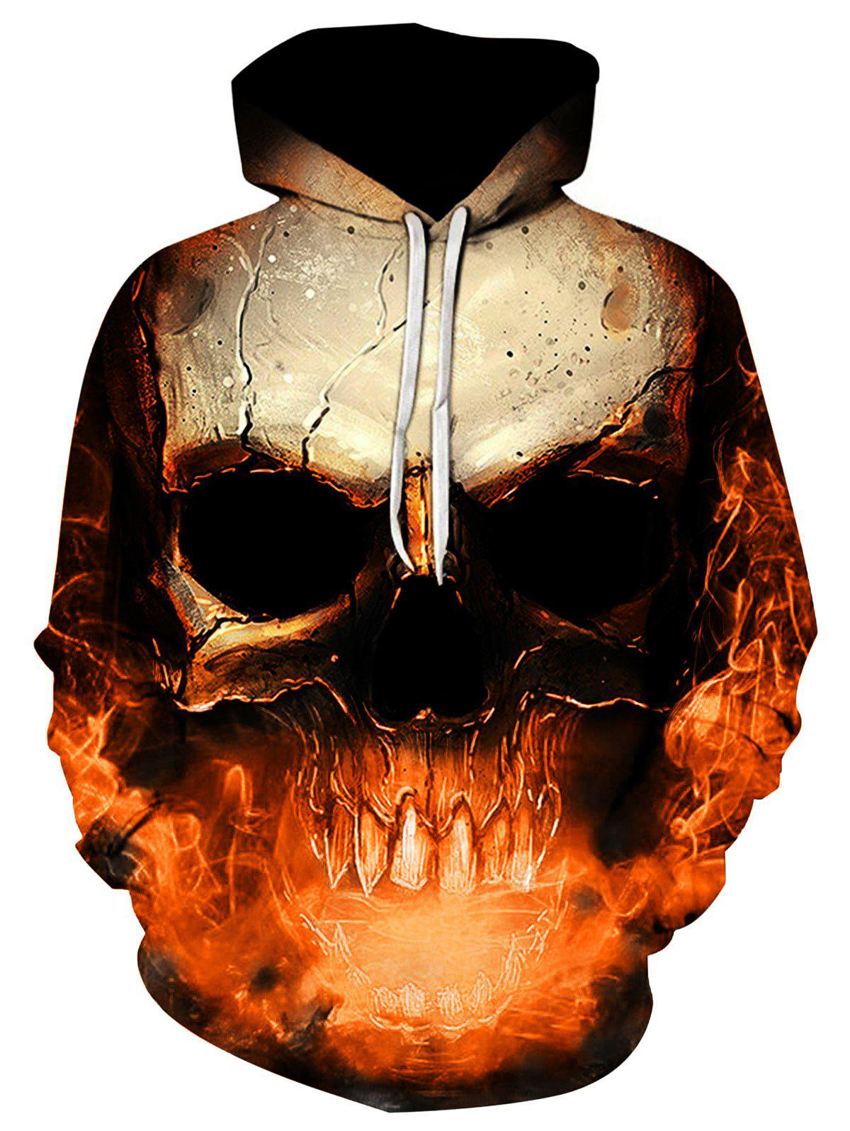 Hooded 3D Skull Print Trippy Hoodie - ORANGE 3XL