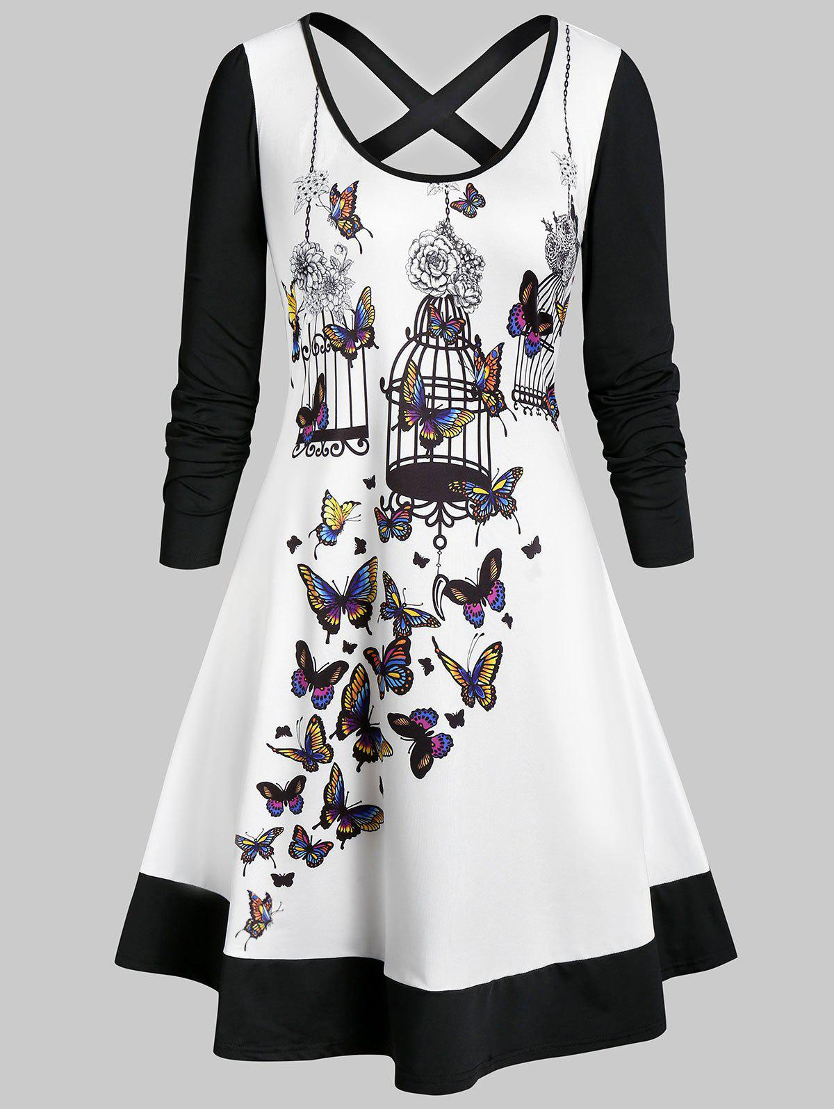 Plus Size Butterfly Birdcage Print Criss Cross Dress - WHITE 4X