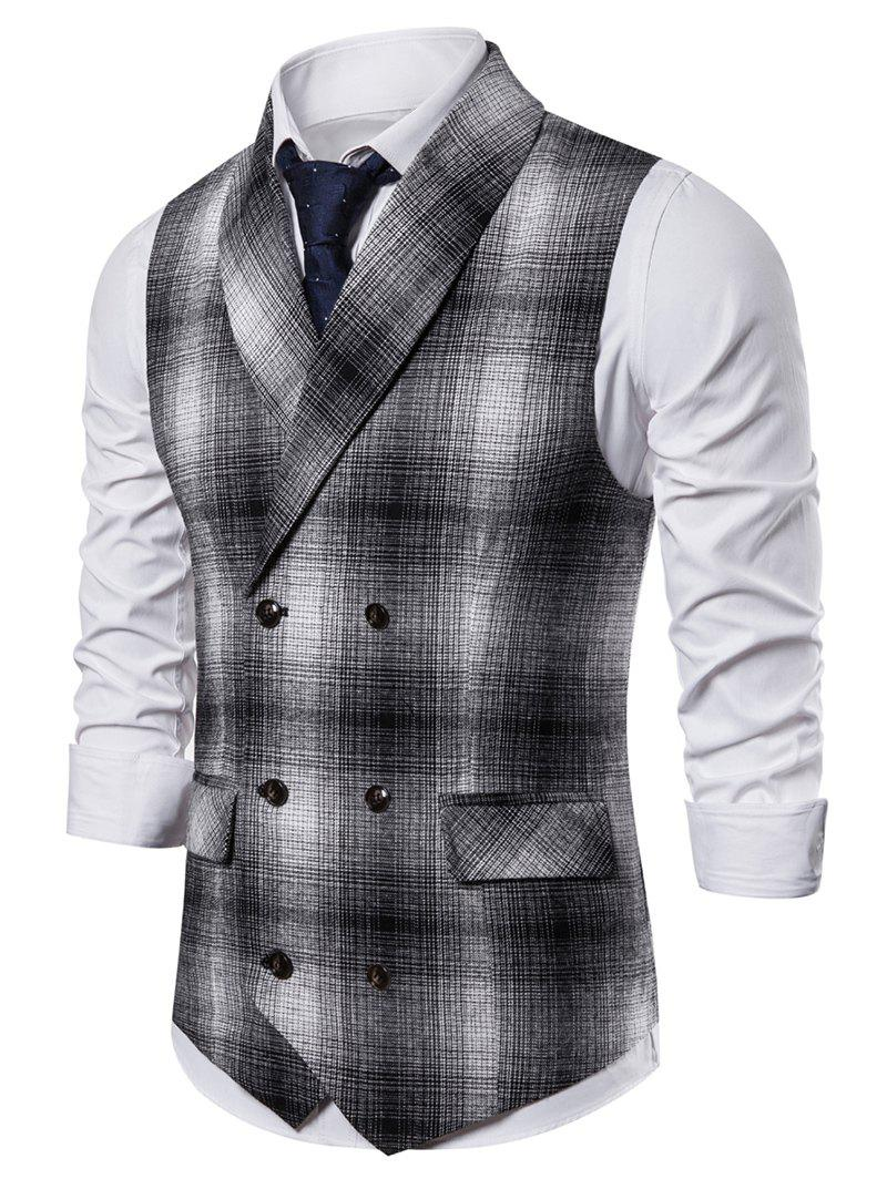 Casual Plaid Print Double Breasted Waistcoat - BLACK L