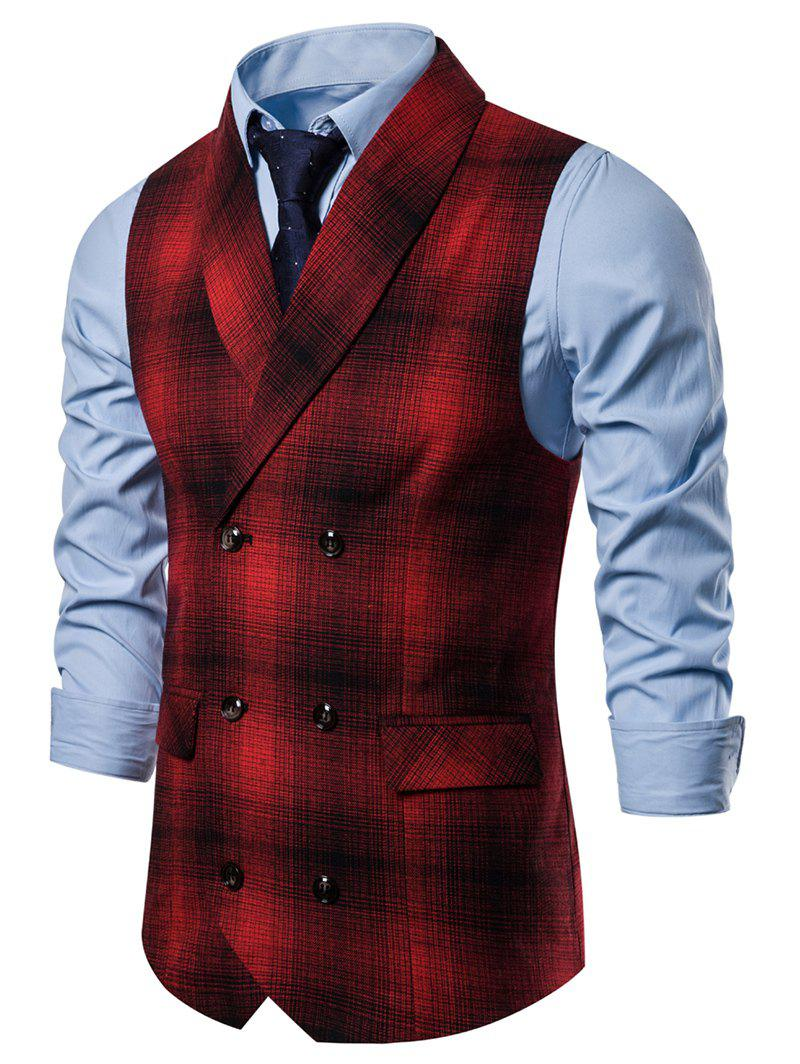 Casual Plaid Print Double Breasted Waistcoat - RED 3XL
