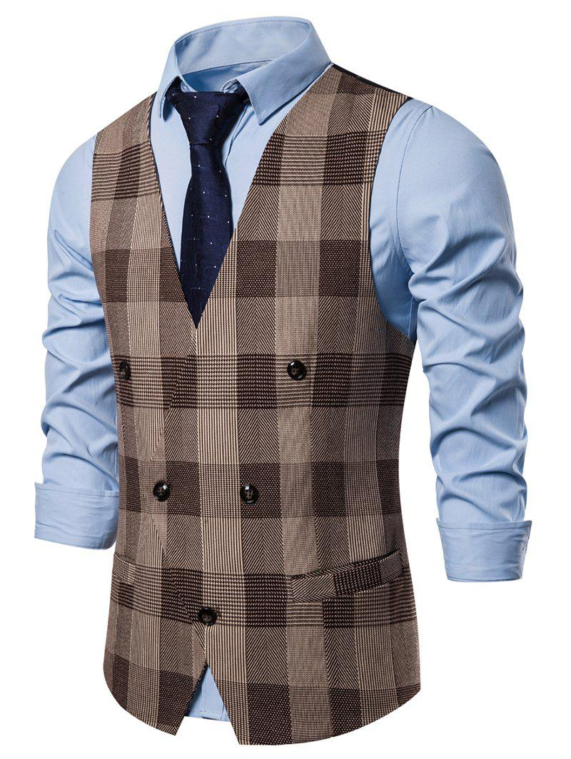 Casual Plaid Pattern V-Neck Waistcoat - COFFEE L