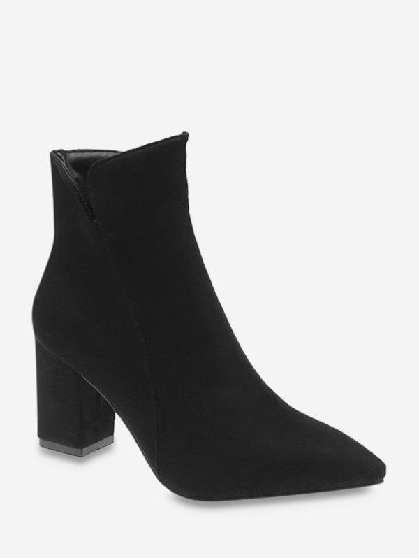 Pointed Toe Mid Heel Suede Boots - BLACK EU 37