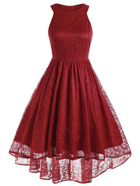 Lace High Low Plus Size Semi Formal Dress - RED WINE 1X