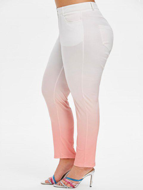 Mid Rise Ombre Skinny Plus Size Pants - PINK 5X