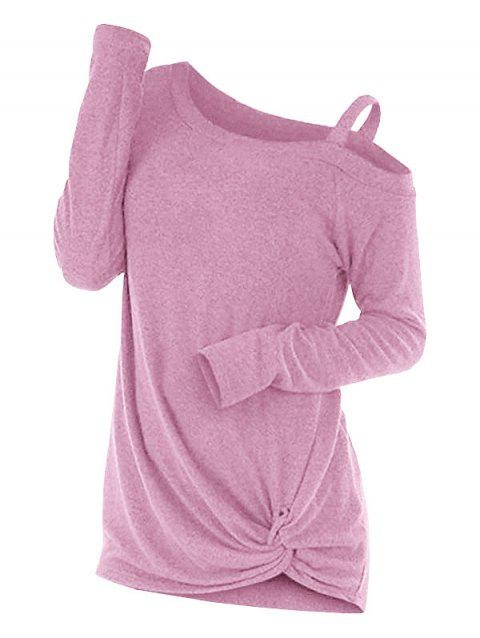 Knotted Cut Out Sweater - PINK XL