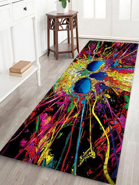 Halloween Abstract Skull Printed Floor Rug - ROSE RED W24 X L71 INCH