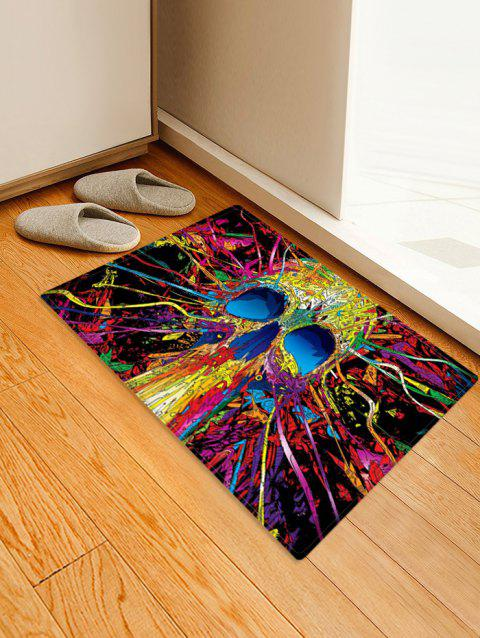 Halloween Abstract Skull Printed Floor Rug - ROSE RED W24 X L35.5 INCH
