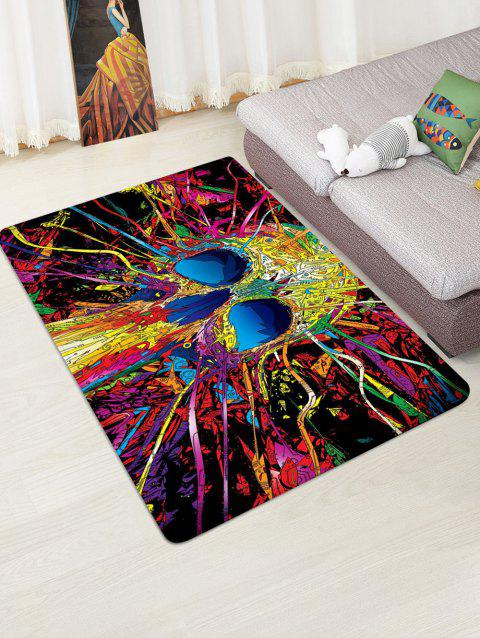 Halloween Abstract Skull Printed Floor Rug - ROSE RED W47 X L63 INCH