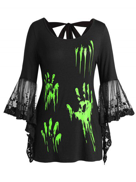 Plus Size Halloween Blood Hands Bell Sleeve Sheer Tee - CHARTREUSE 5X