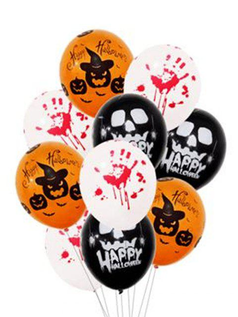 Halloween Decorations 50 Pcs 12 Inch Skull Pumpkin and Blood Hand Print Balloons - multicolor A