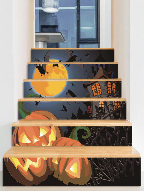 Halloween Moon Night Castle Pumpkin Print Removable Stair Stickers - multicolor A 6PCS X 39 X 7 INCH( NO FRAME )