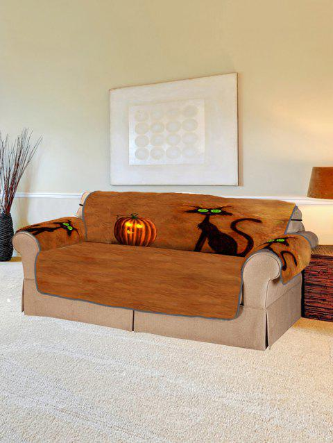 Halloween Pumpkin Cat Design Couch Cover - multicolor TWO SEATS