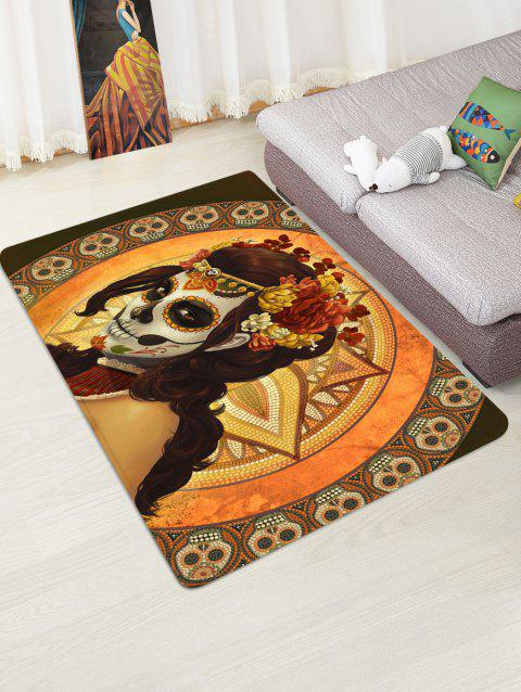 Halloween Skull Witch Printed Floor Rug - GOLDEN BROWN W47 X L63 INCH