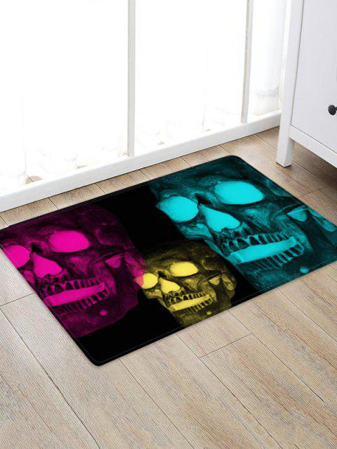Halloween Glow Skull 3D Pattern Floor Rug - ROSE RED W24 X L35.5 INCH