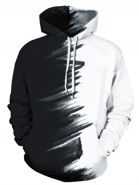 Two Tone Color Block Printed Hoodie - WHITE 3XL