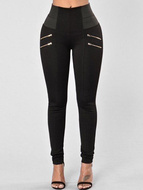 Zippers High Waist Skinny Pants - BLACK M
