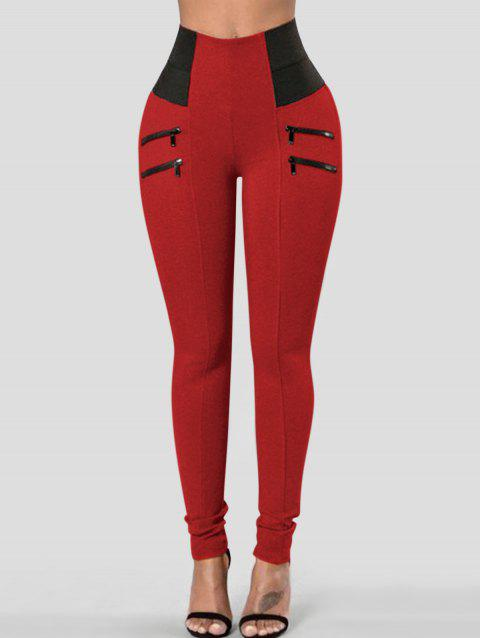 Zippers High Waist Skinny Pants - LAVA RED XL