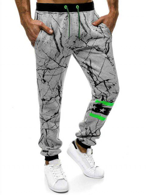 Striped Accent Cracked Print Jogger Pants - LIGHT GRAY M