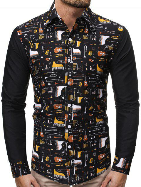 Color Block Spliced Music Instrument Print Button Shirt - multicolor 2XL