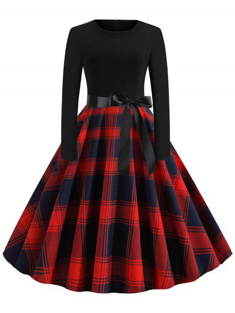 Plaid Belted Long Sleeves Rockabilly Style Flare Dress
