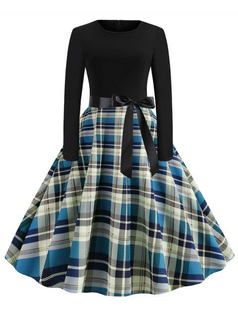 Plaid Belted Long Sleeves Rockabilly Style Flare Dress - BLUE XL