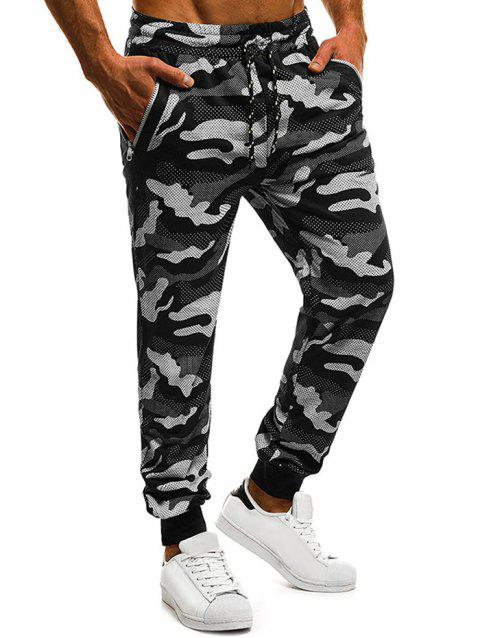 Zip Pockets Camouflage Pindot Print Jogger Pants - BLACK 2XL