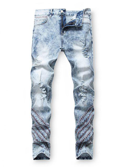 Embroidery Decoration Zip Fly Ripped Jeans - DENIM BLUE 36