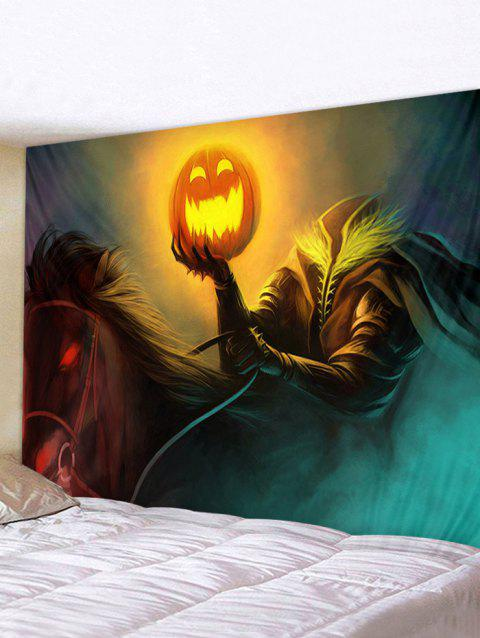Halloween Pumpkin Knight Print Tapestry Wall Hanging Art Decoration - multicolor W79 X L59 INCH