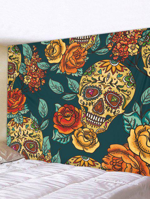 Halloween Flowers and Skull Print Tapestry Wall Hanging Art Decoration - multicolor W79 X L59 INCH