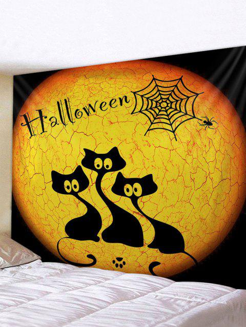 Halloween Night Cats Print Tapestry Wall Hanging Art Decoration - multicolor W71 X L71 INCH