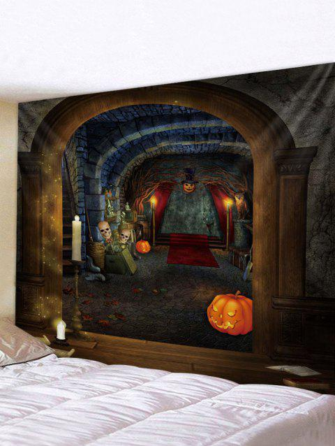 Halloween House Print Tapestry Wall Hanging Art Decoration - multicolor W91 X L71 INCH