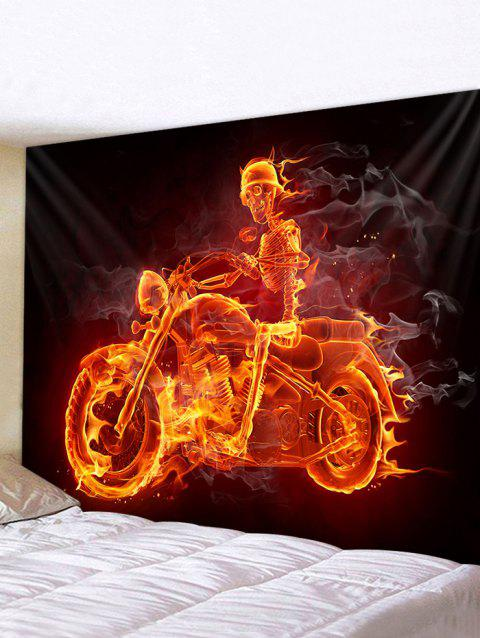 Halloween Fire Skeleton Motorcyclist Print Tapestry Wall Hanging Art Decoration - multicolor W79 X L71 INCH