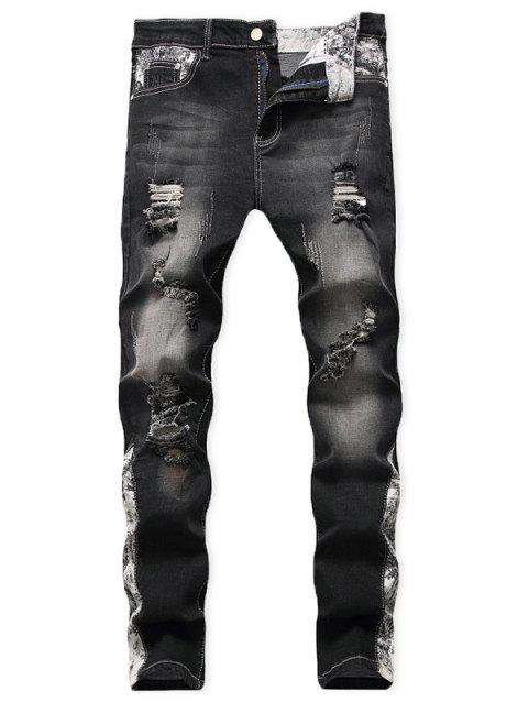 Casual Ripped Decoration Zip Fly Jeans - BLACK 40
