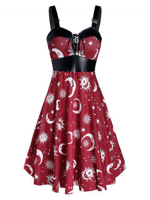 Retro Buckle Sun Moon Print Lace Up Pin Up Dress - multicolor A XL