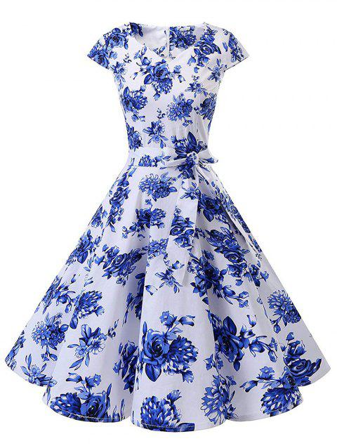 Flower Print Belted Vintage A Line Cap Sleeve Dress - multicolor A 2XL