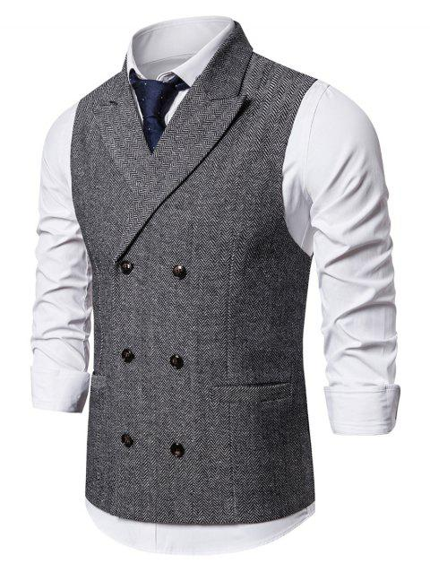 Pocket Decoration Twill Button Waistcoat - LIGHT GRAY XL