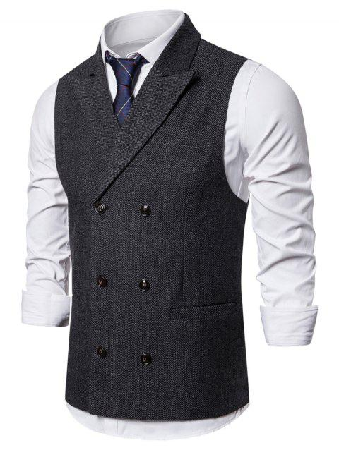 Pocket Decoration Twill Button Waistcoat - CARBON GRAY M