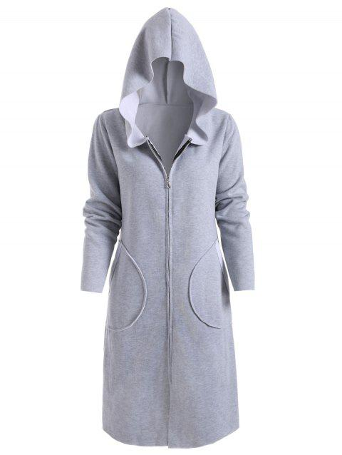Zip Up Hooded Coat with Pockets - GRAY XL