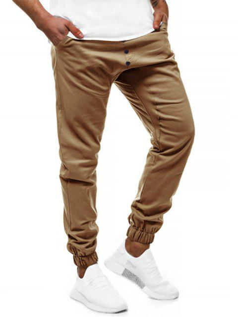 Solid Color Elastic Drawstring Jogger Pants - KHAKI XS