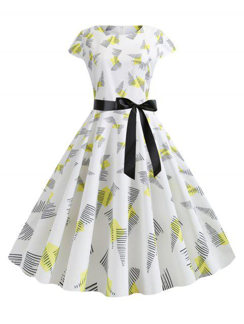 Cap Sleeves Printed Belted Flare Dress - YELLOW 2XL