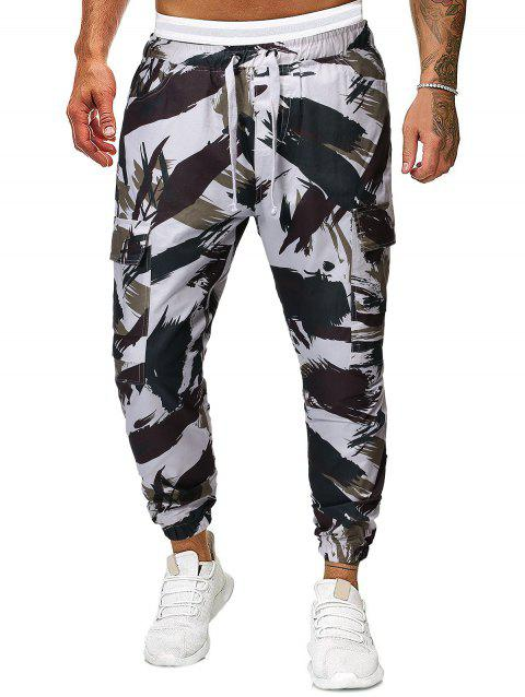Camouflage Print Multi-pocket Drawstring Casual Jogger Pants - multicolor 2XL