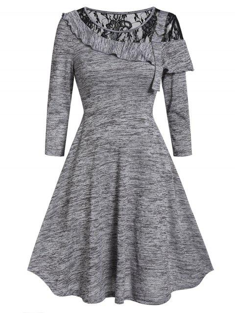 Marled Lace Insert Round Collar Fit And Flare Dress - GRAY S